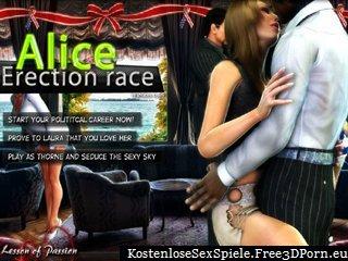 Alice Erektion Rennen mit errichtet Schwanz Ruck-off