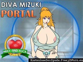Diva Mizuki Portal mit nackten Titten Karikatur