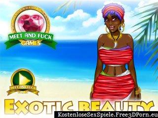 Exotische schwarze Schönheit ficken am Strand