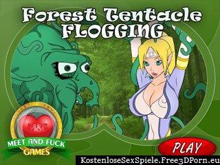Wald Tentakel Monster mag schmerzhaften Sex mit kleinen Elfen