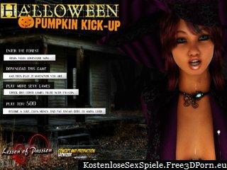 Halloween-Kürbis Kick mit Freundinnen entkleiden
