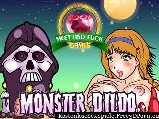 Ficken Cartoon Mädchen mit einem Monsterdildo
